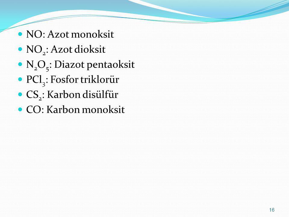 NO: Azot monoksit NO 2 : Azot dioksit N 2 O 5 : Diazot pentaoksit PCl 3 : Fosfor triklorür CS 2 : Karbon disülfür CO: Karbon monoksit 16