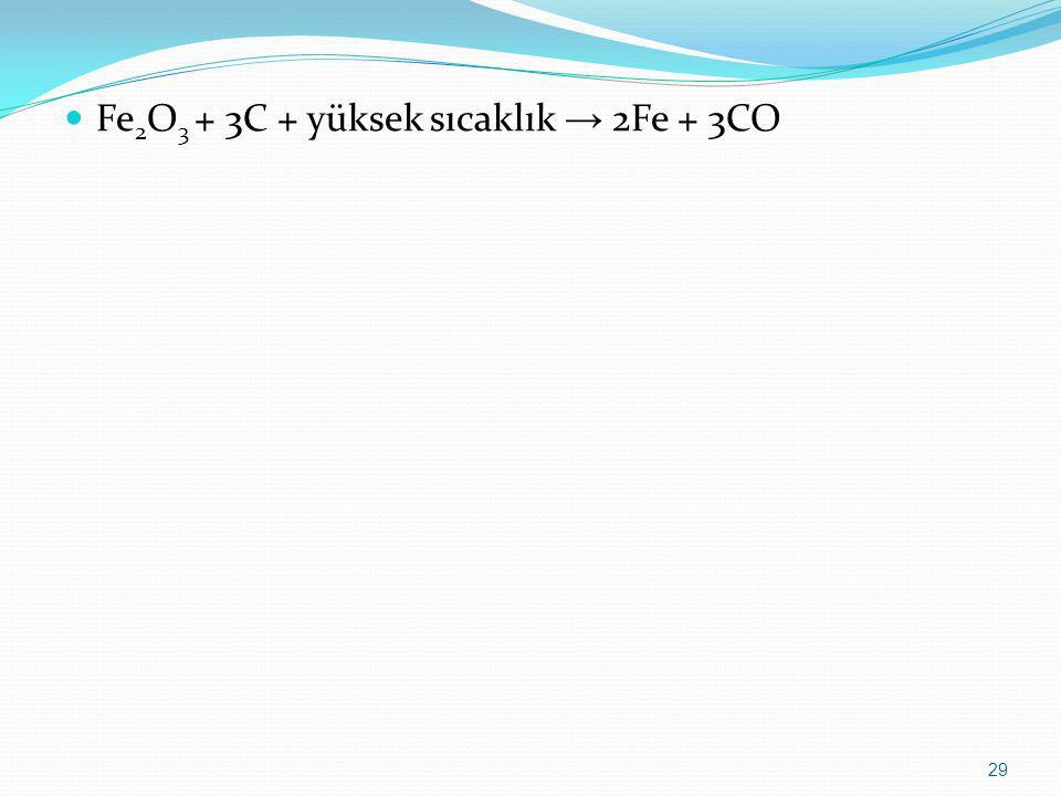 Fe 2 O 3 + 3C + yüksek sıcaklık → 2Fe + 3CO 29
