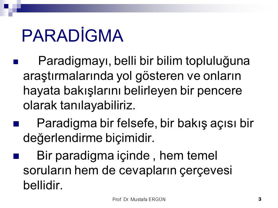 Prof.Dr. Mustafa ERGÜN4 Thomas Kuhn paradigma kavramını kullanmıştır.