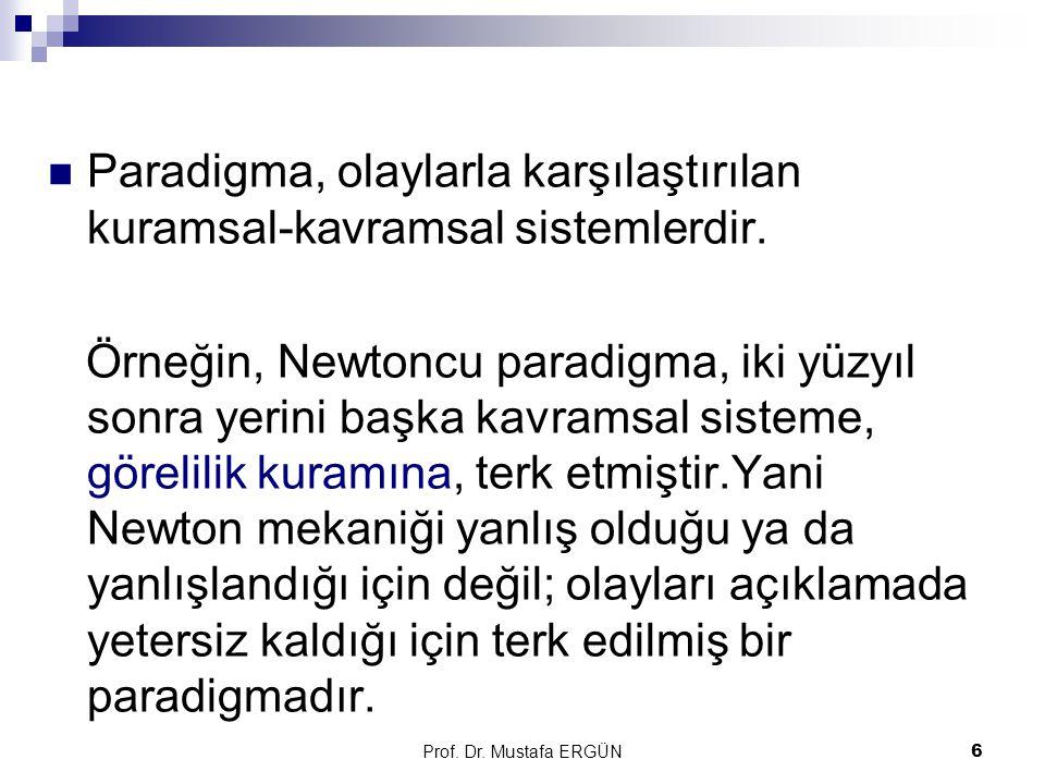 Prof.Dr. Mustafa ERGÜN7 Kuhn'a göre, paradigmalar kıyaslanamaz.