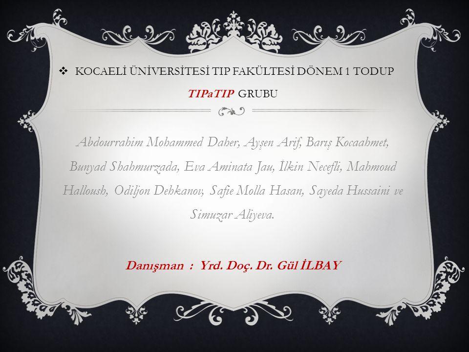  KOCAELİ ÜNİVERSİTESİ TIP FAKÜLTESİ DÖNEM 1 TODUP TIPaTIP GRUBU Abdourrahim Mohammed Daher, Ayşen Arif, Barış Kocaahmet, Bunyad Shahmurzada, Eva Amin