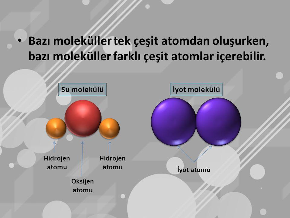Bazı moleküller tek çeşit atomdan oluşurken, bazı moleküller farklı çeşit atomlar içerebilir. İyot atomu Hidrojen atomu Hidrojen atomu Oksijen atomu S