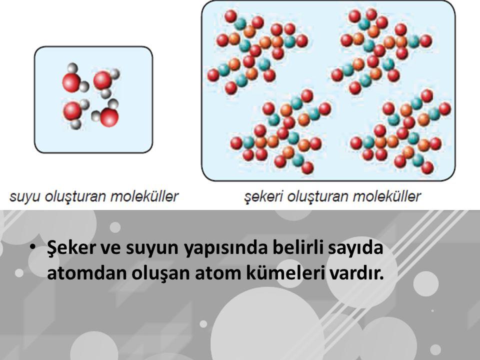Şeker ve suyun yapısında belirli sayıda atomdan oluşan atom kümeleri vardır.
