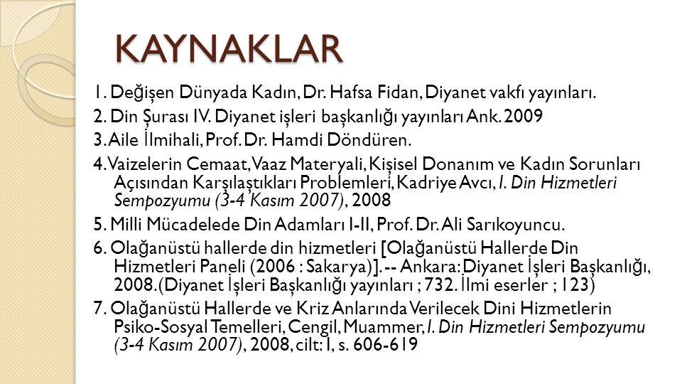 KAYNAKLAR 1. De ğ işen Dünyada Kadın, Dr. Hafsa Fidan, Diyanet vakfı yayınları. 2. Din Şurası IV. Diyanet işleri başkanlı ğ ı yayınları Ank. 2009 3. A