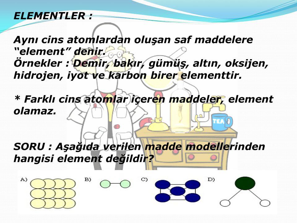 """ELEMENTLER : Aynı cins atomlardan oluşan saf maddelere """"element"""" denir. Örnekler : Demir, bakır, gümüş, altın, oksijen, hidrojen, iyot ve karbon birer"""