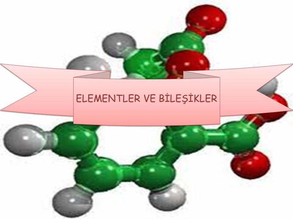a) ELEMENTLER VE ÖZELLİKLERİ : Aynı cins atomlardan oluşan, fiziksel ya da kimyasal yollarla kendinden daha basit ve farklı maddelere ayrılamayan saf maddelere element denir.