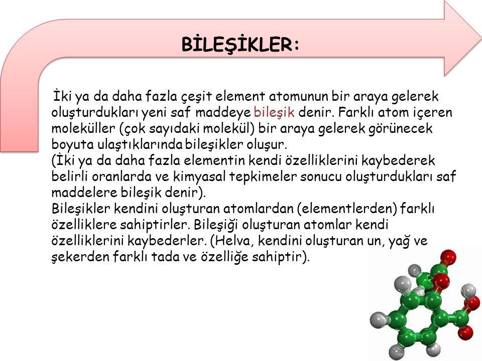 Bileşiklerin çoğu moleküllerden oluşmuşlardır.