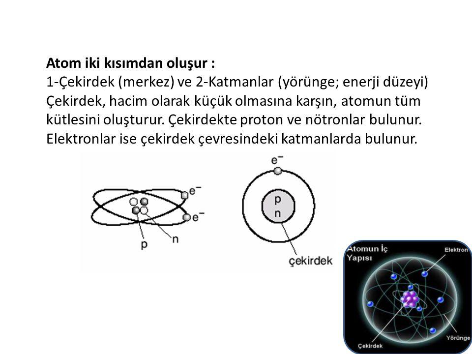 Örnek : 1- Sodyum elementindeki sodyum atomlarının arasındaki uzaklık çok azdır.