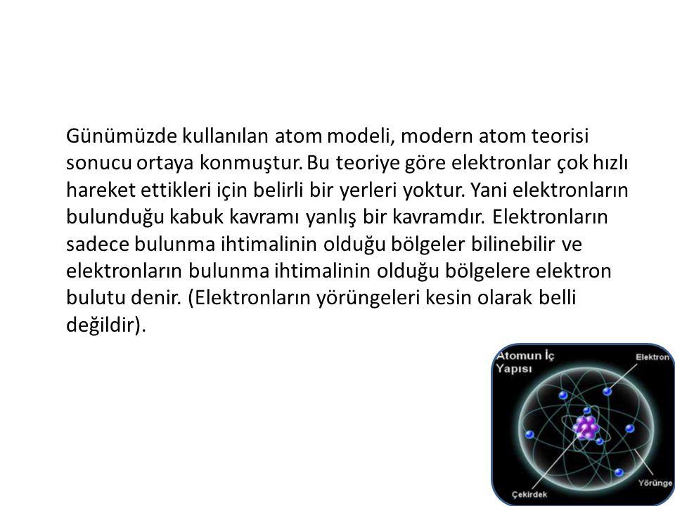 Günümüzde kullanılan atom modeli, modern atom teorisi sonucu ortaya konmuştur. Bu teoriye göre elektronlar çok hızlı hareket ettikleri için belirli bi