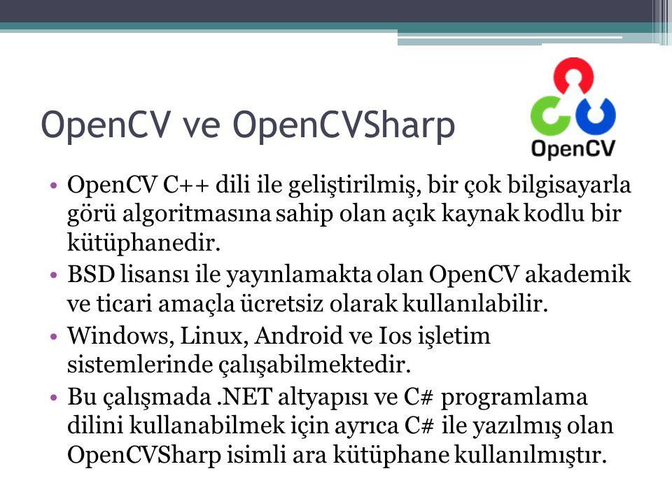 OpenCV ve OpenCVSharp OpenCV C++ dili ile geliştirilmiş, bir çok bilgisayarla görü algoritmasına sahip olan açık kaynak kodlu bir kütüphanedir. BSD li
