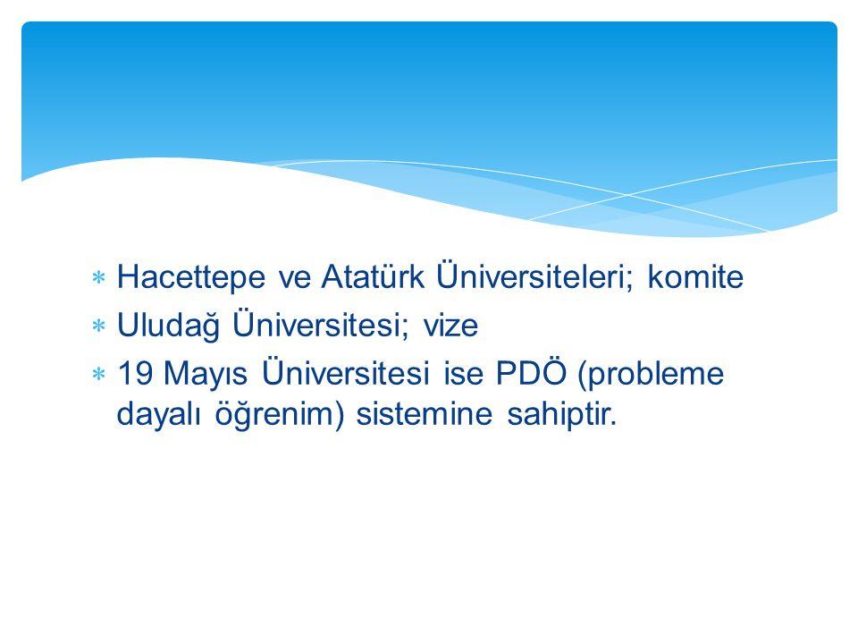  Hacettepe ve Atatürk Üniversiteleri; komite  Uludağ Üniversitesi; vize  19 Mayıs Üniversitesi ise PDÖ (probleme dayalı öğrenim) sistemine sahiptir