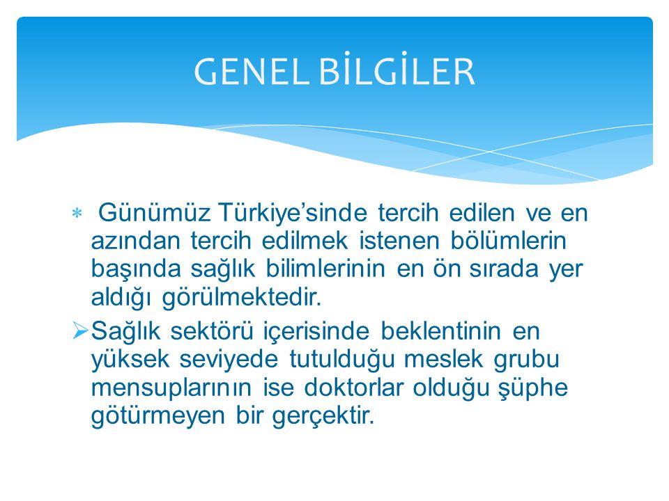  Günümüz Türkiye'sinde tercih edilen ve en azından tercih edilmek istenen bölümlerin başında sağlık bilimlerinin en ön sırada yer aldığı görülmektedi