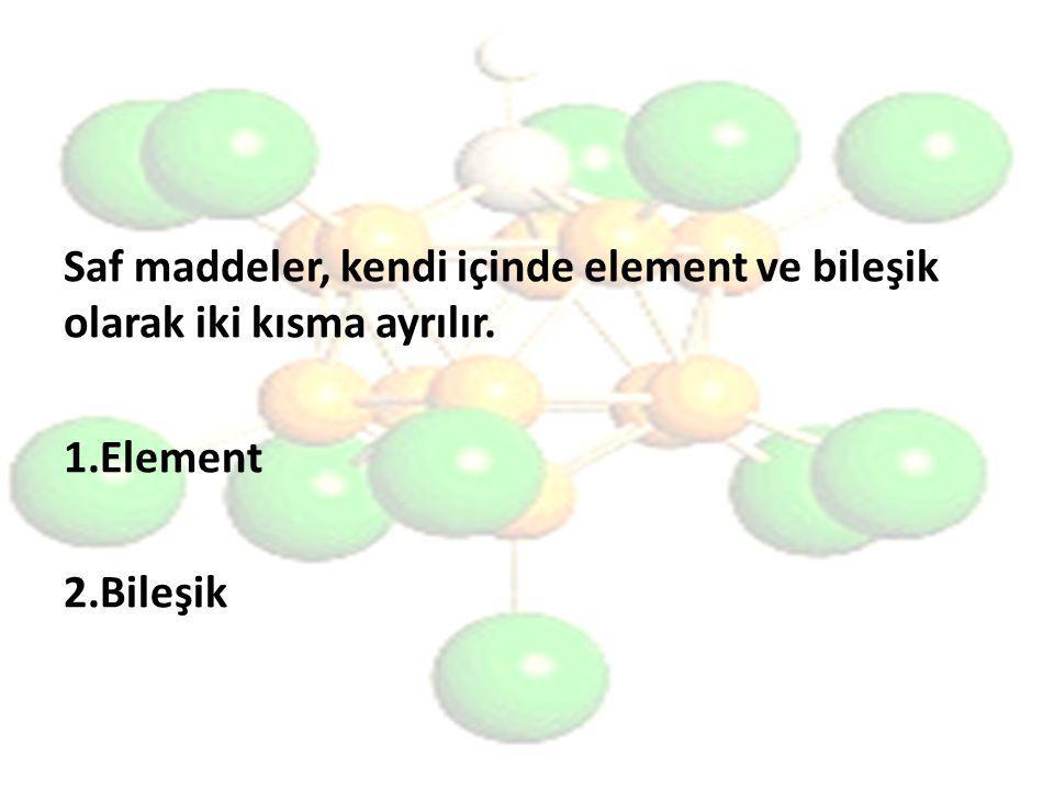 Saf maddeler, kendi içinde element ve bileşik olarak iki kısma ayrılır. 1.Element 2.Bileşik