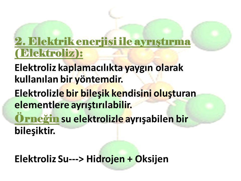 2. Elektrik enerjisi ile ayrıştırma (Elektroliz): Elektroliz kaplamacılıkta yaygın olarak kullanılan bir yöntemdir. Elektrolizle bir bileşik kendisini