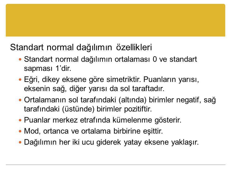 Standart normal dağılımın özellikleri Standart normal dağılımın ortalaması 0 ve standart sapması 1'dir.