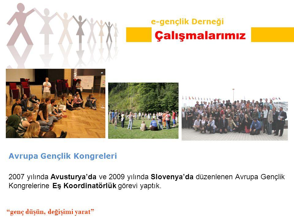 Avrupa Gençlik Kongreleri 2007 yılında Avusturya'da ve 2009 yılında Slovenya'da düzenlenen Avrupa Gençlik Kongrelerine Eş Koordinatörlük görevi yaptık.