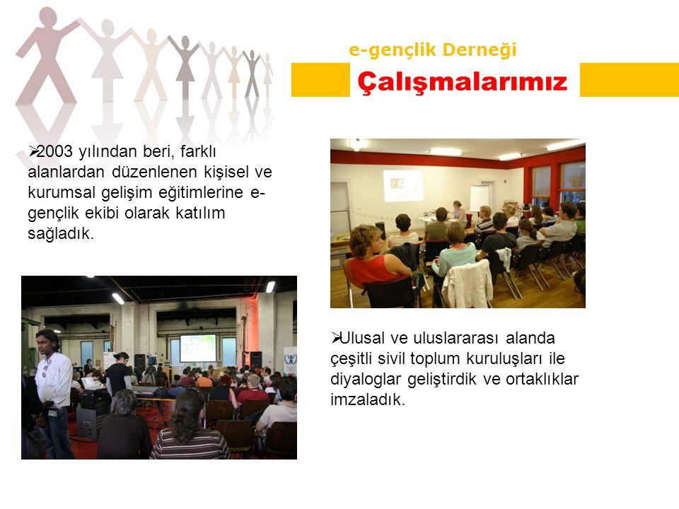  2003 yılından beri, farklı alanlardan düzenlenen kişisel ve kurumsal gelişim eğitimlerine e- gençlik ekibi olarak katılım sağladık.