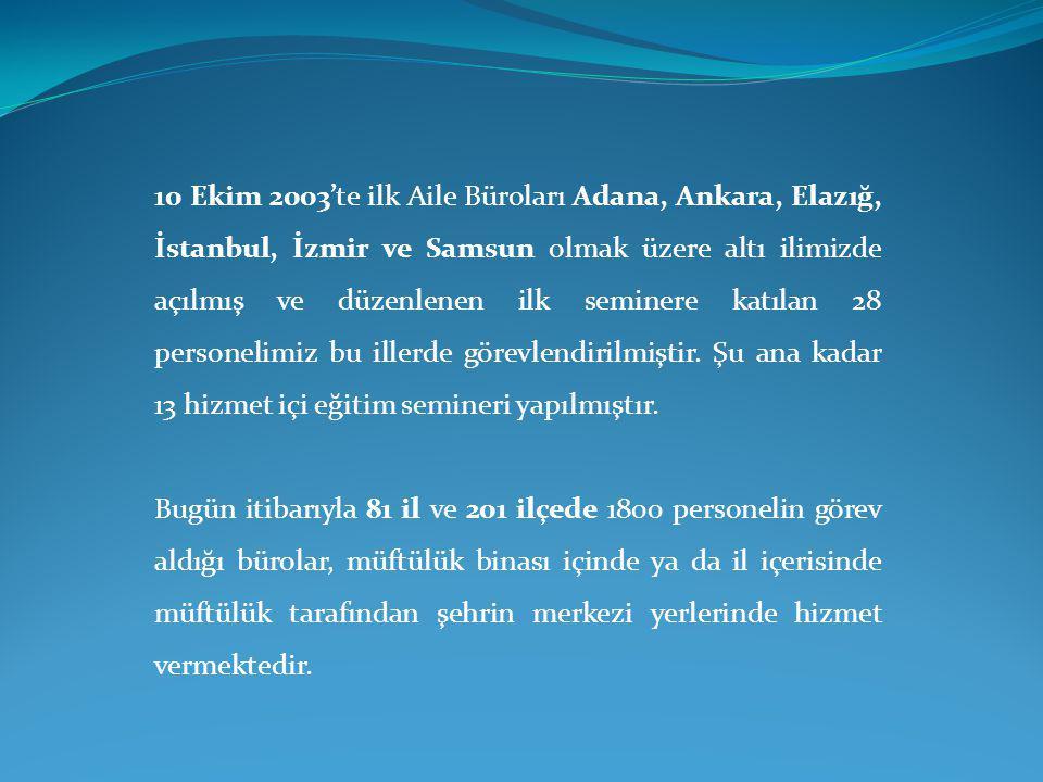 10 Ekim 2003'te ilk Aile Büroları Adana, Ankara, Elazığ, İstanbul, İzmir ve Samsun olmak üzere altı ilimizde açılmış ve düzenlenen ilk seminere katıla