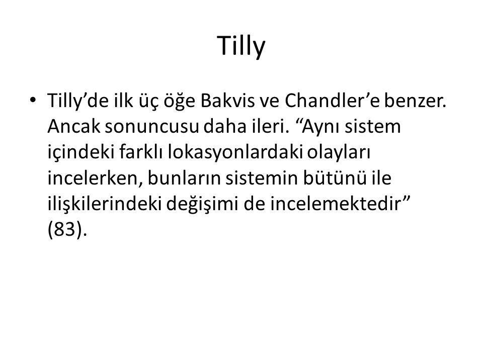 """Tilly Tilly'de ilk üç öğe Bakvis ve Chandler'e benzer. Ancak sonuncusu daha ileri. """"Aynı sistem içindeki farklı lokasyonlardaki olayları incelerken, b"""