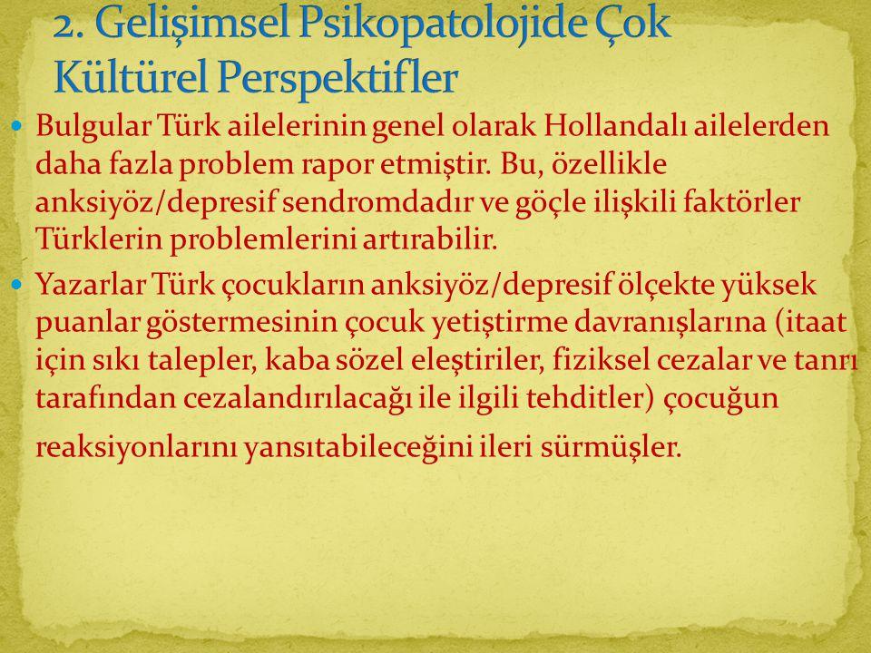 Bulgular Türk ailelerinin genel olarak Hollandalı ailelerden daha fazla problem rapor etmiştir.
