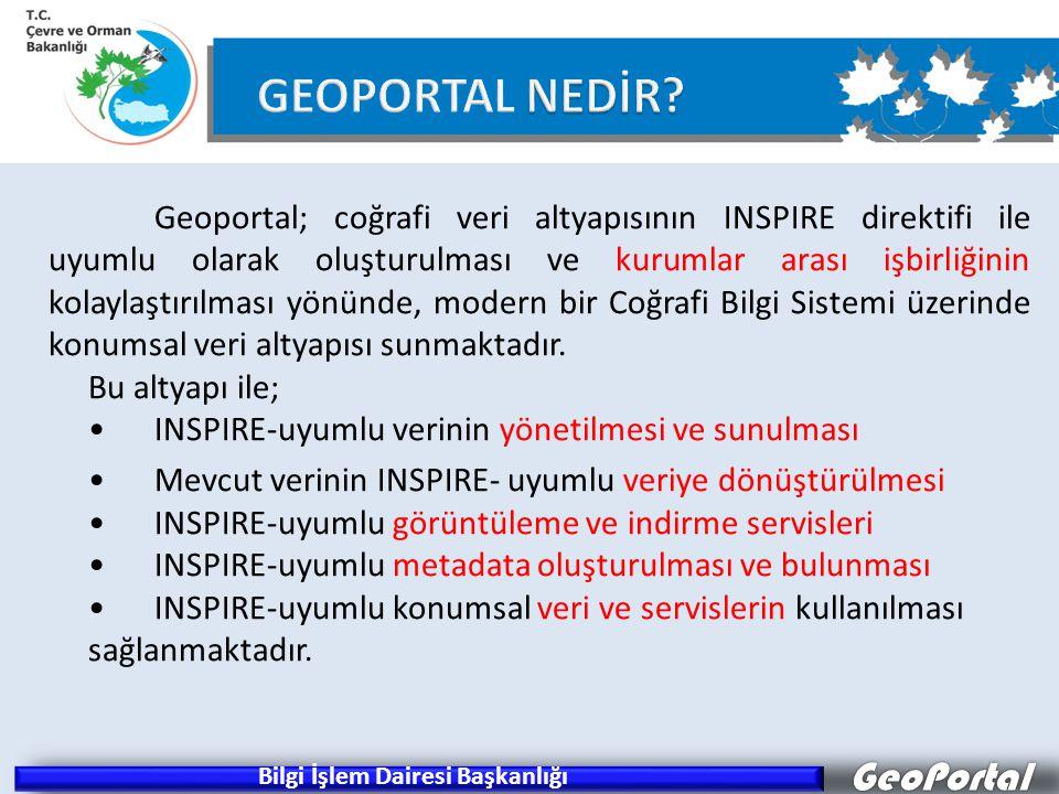 GeoPortal Geoportal; coğrafi veri altyapısının INSPIRE direktifi ile uyumlu olarak oluşturulması ve kurumlar arası işbirliğinin kolaylaştırılması yönünde, modern bir Coğrafi Bilgi Sistemi üzerinde konumsal veri altyapısı sunmaktadır.