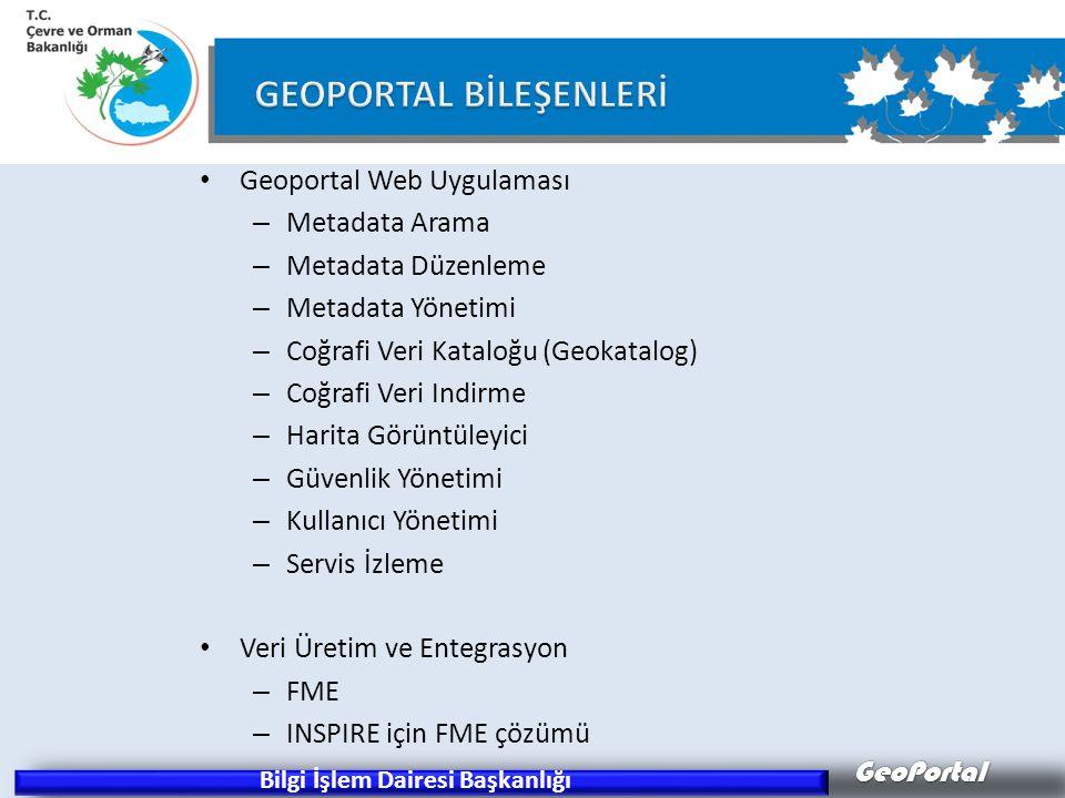 GeoPortal Geoportal Web Uygulaması – Metadata Arama – Metadata Düzenleme – Metadata Yönetimi – Coğrafi Veri Kataloğu (Geokatalog) – Coğrafi Veri Indirme – Harita Görüntüleyici – Güvenlik Yönetimi – Kullanıcı Yönetimi – Servis İzleme Veri Üretim ve Entegrasyon – FME – INSPIRE için FME çözümü