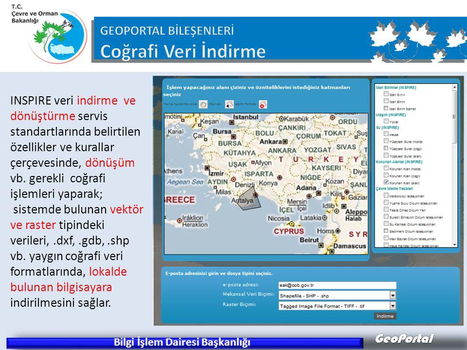 GeoPortal Bilgi İşlem Dairesi Başkanlığı INSPIRE veri indirme ve dönüştürme servis standartlarında belirtilen özellikler ve kurallar çerçevesinde, dönüşüm vb.