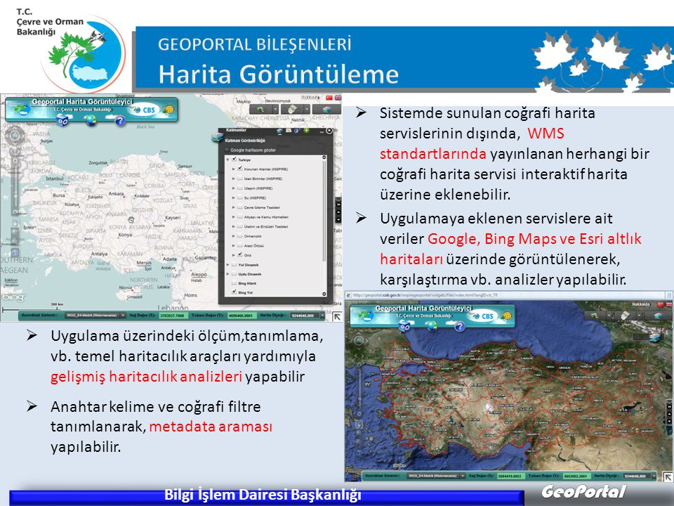 GeoPortal Bilgi İşlem Dairesi Başkanlığı  Uygulama üzerindeki ölçüm,tanımlama, vb.