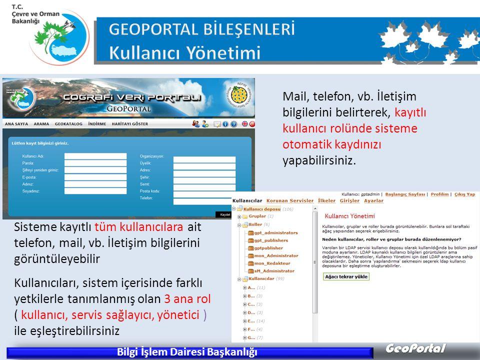 GeoPortal Bilgi İşlem Dairesi Başkanlığı Sisteme kayıtlı tüm kullanıcılara ait telefon, mail, vb.