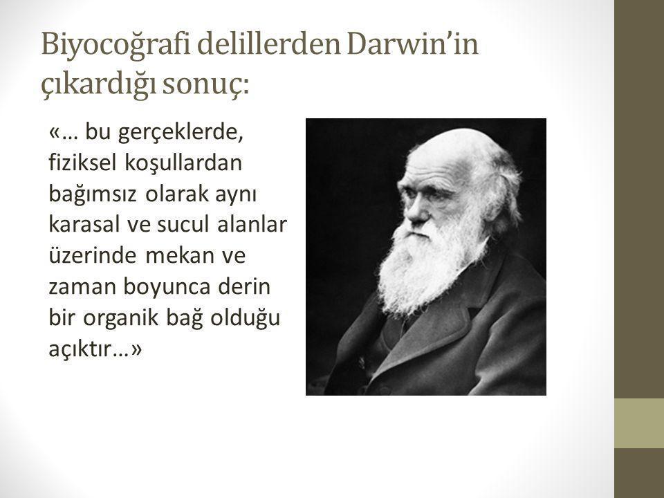 Biyocoğrafi delillerden Darwin'in çıkardığı sonuç: «… bu gerçeklerde, fiziksel koşullardan bağımsız olarak aynı karasal ve sucul alanlar üzerinde meka