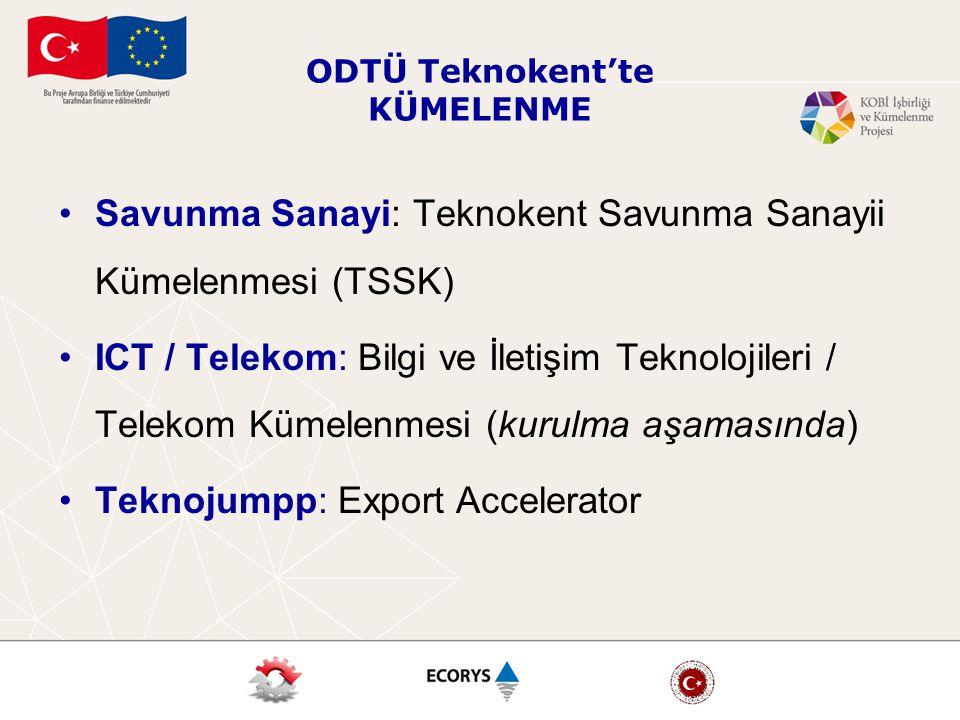 ODTÜ Teknokent'te KÜMELENME Savunma Sanayi: Teknokent Savunma Sanayii Kümelenmesi (TSSK) ICT / Telekom: Bilgi ve İletişim Teknolojileri / Telekom Kümelenmesi (kurulma aşamasında) Teknojumpp: Export Accelerator
