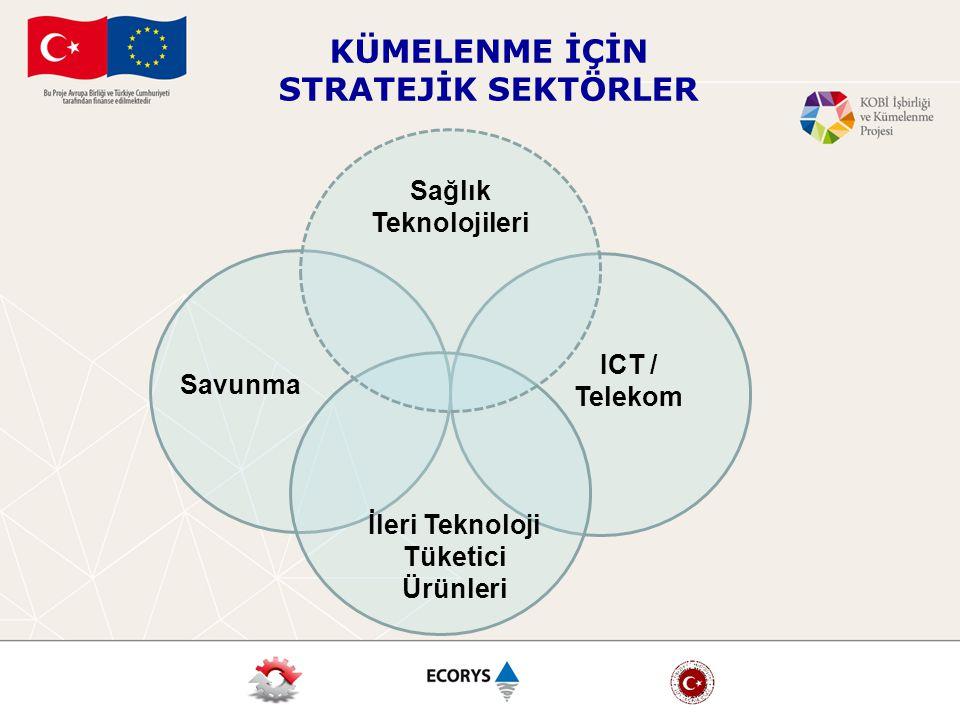 KÜMELENME İÇİN STRATEJİK SEKTÖRLER Savunma ICT / Telekom İleri Teknoloji Tüketici Ürünleri Sağlık Teknolojileri