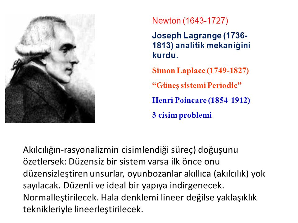 "Newton (1643-1727) Joseph Lagrange (1736- 1813) analitik mekaniğini kurdu. Descartes (1596-1650) Simon Laplace (1749-1827) ""Güneş sistemi Periodic"" He"