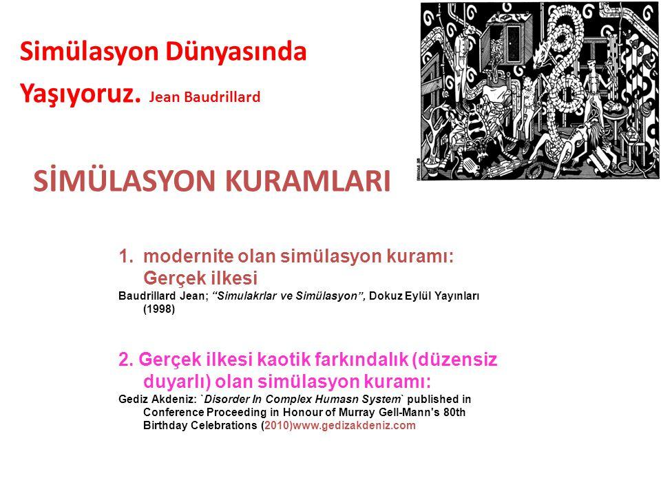 """1.modernite olan simülasyon kuramı: Gerçek ilkesi Baudrillard Jean; """"Simulakrlar ve Simülasyon"""", Dokuz Eylül Yayınları (1998) 2. Gerçek ilkesi kaotik"""
