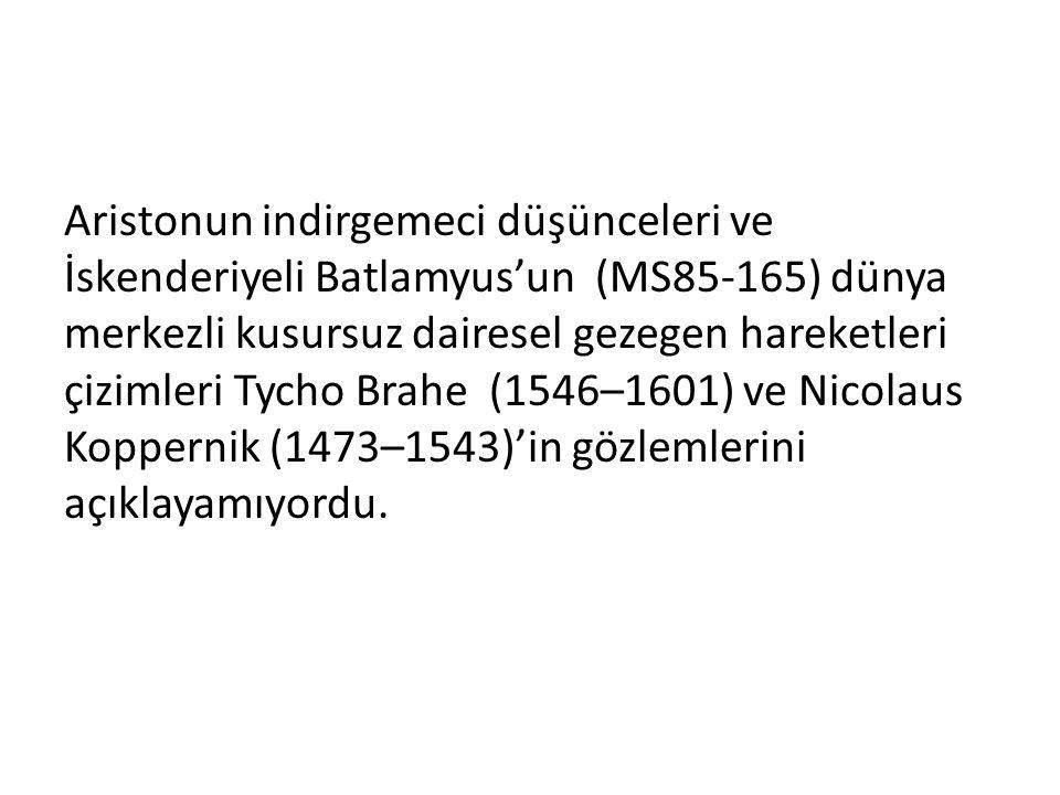 Aristonun indirgemeci düşünceleri ve İskenderiyeli Batlamyus'un (MS85-165) dünya merkezli kusursuz dairesel gezegen hareketleri çizimleri Tycho Brahe