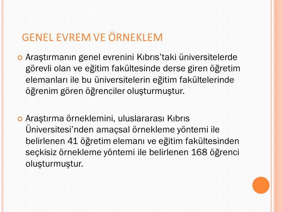 GENEL EVREM VE ÖRNEKLEM Araştırmanın genel evrenini Kıbrıs'taki üniversitelerde görevli olan ve eğitim fakültesinde derse giren öğretim elemanları ile bu üniversitelerin eğitim fakültelerinde öğrenim gören öğrenciler oluşturmuştur.