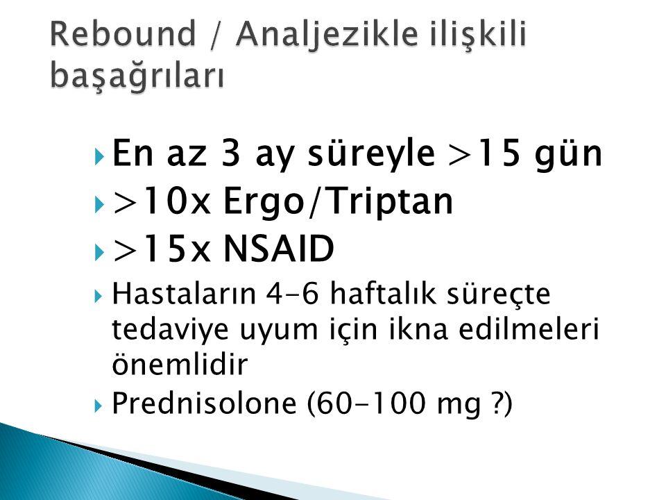  En az 3 ay süreyle >15 gün  >10x Ergo/Triptan  >15x NSAID  Hastaların 4-6 haftalık süreçte tedaviye uyum için ikna edilmeleri önemlidir  Prednis