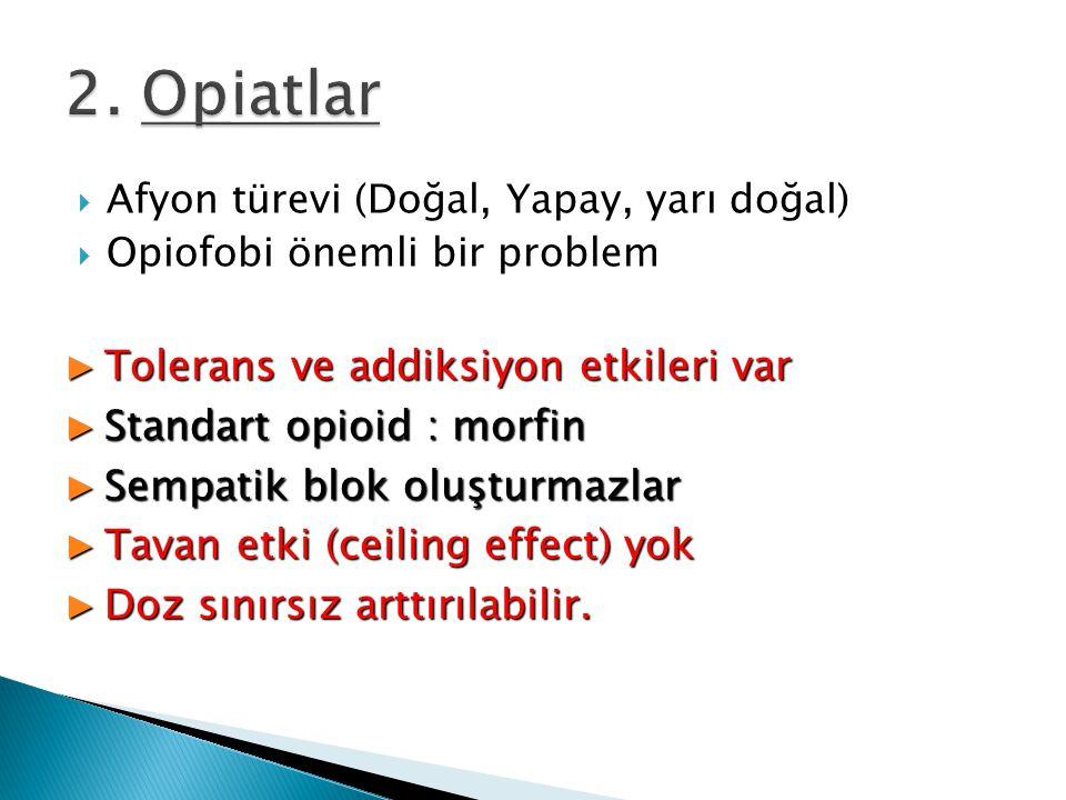  Afyon türevi (Doğal, Yapay, yarı doğal)  Opiofobi önemli bir problem ► Tolerans ve addiksiyon etkileri var ► Standart opioid : morfin ► Sempatik bl