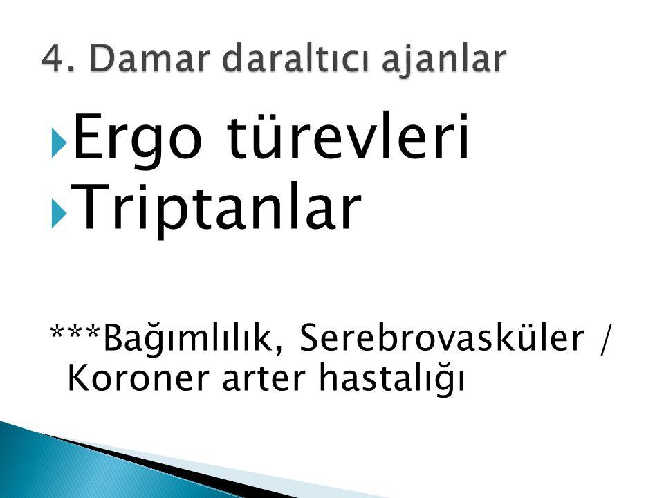  Ergo türevleri  Triptanlar ***Bağımlılık, Serebrovasküler / Koroner arter hastalığı