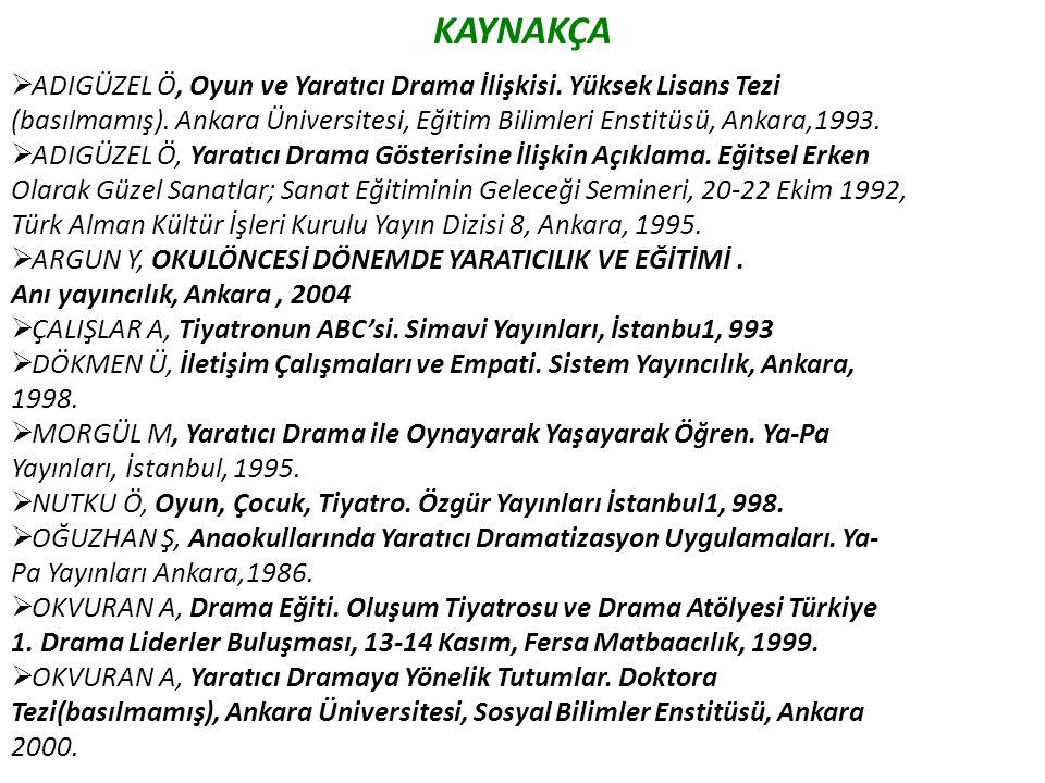 KAYNAKÇA  ADIGÜZEL Ö, Oyun ve Yaratıcı Drama İlişkisi. Yüksek Lisans Tezi (basılmamış). Ankara Üniversitesi, Eğitim Bilimleri Enstitüsü, Ankara,1993.