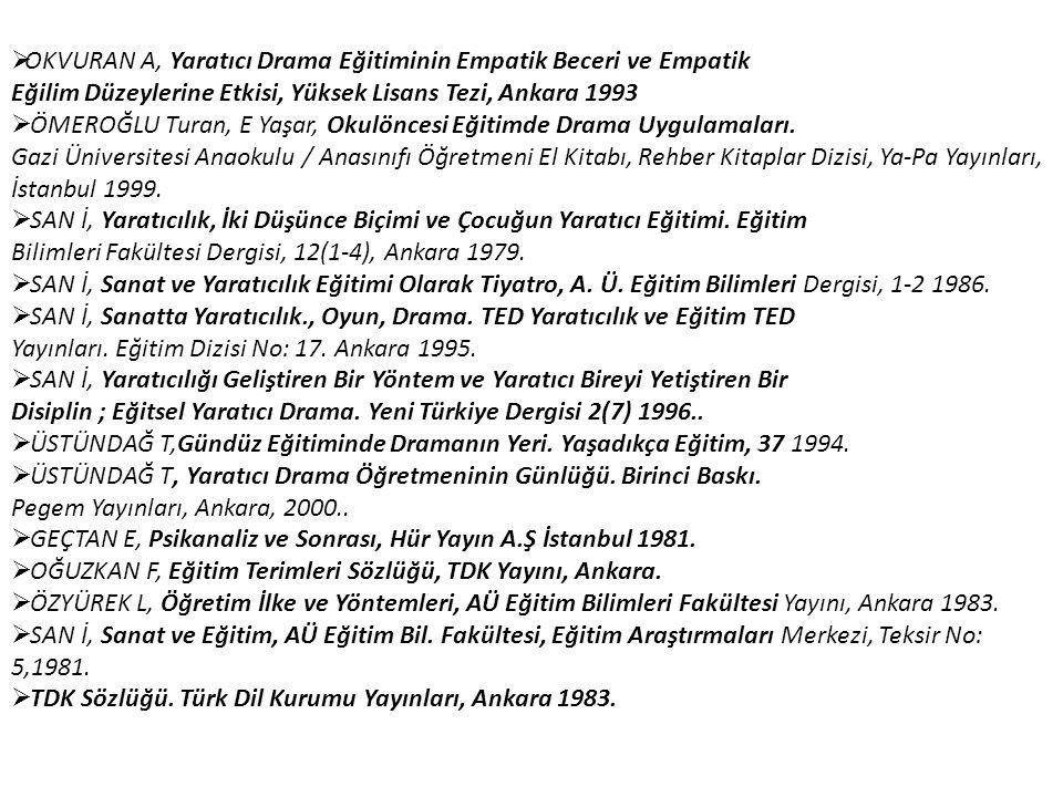  OKVURAN A, Yaratıcı Drama Eğitiminin Empatik Beceri ve Empatik Eğilim Düzeylerine Etkisi, Yüksek Lisans Tezi, Ankara 1993  ÖMEROĞLU Turan, E Yaşar,