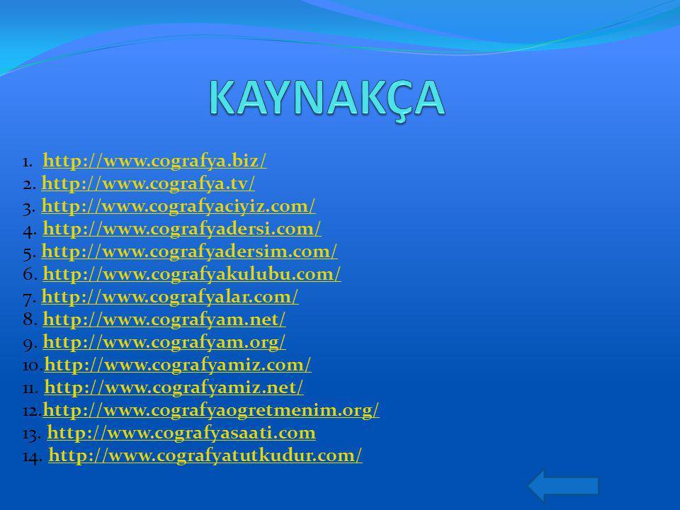 1. http://www.cografya.biz/ 2. http://www.cografya.tv/ 3. http://www.cografyaciyiz.com/ 4. http://www.cografyadersi.com/ 5. http://www.cografyadersim.