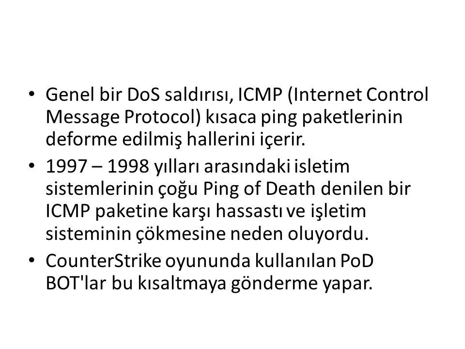 Genel bir DoS saldırısı, ICMP (Internet Control Message Protocol) kısaca ping paketlerinin deforme edilmiş hallerini içerir. 1997 – 1998 yılları arası