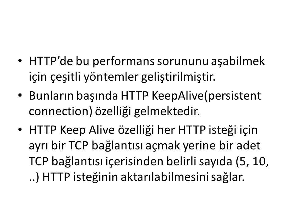 HTTP'de bu performans sorununu aşabilmek için çeşitli yöntemler geliştirilmiştir. Bunların başında HTTP KeepAlive(persistent connection) özelliği gelm