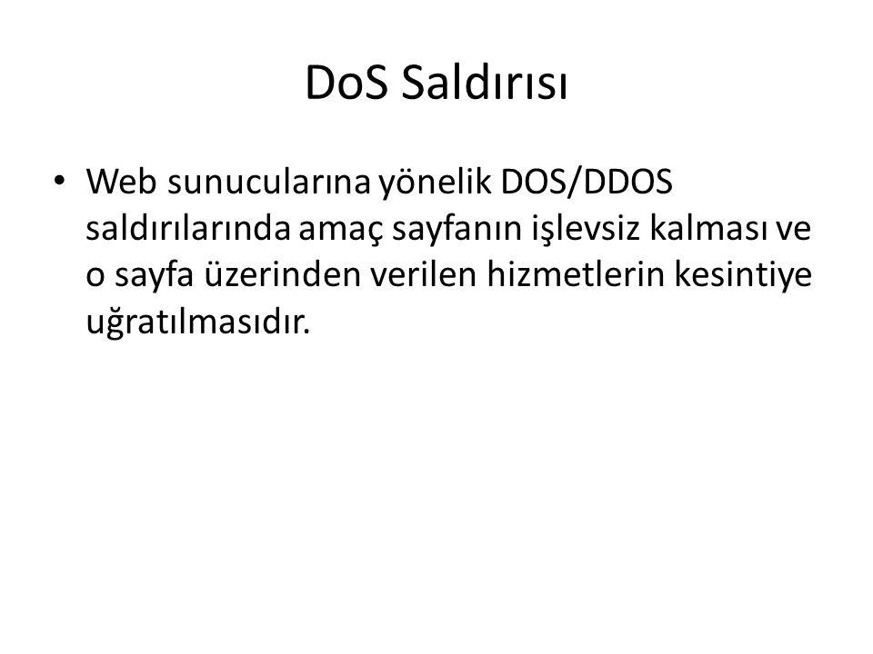 DoS Saldırısı Web sunucularına yönelik DOS/DDOS saldırılarında amaç sayfanın işlevsiz kalması ve o sayfa üzerinden verilen hizmetlerin kesintiye uğrat