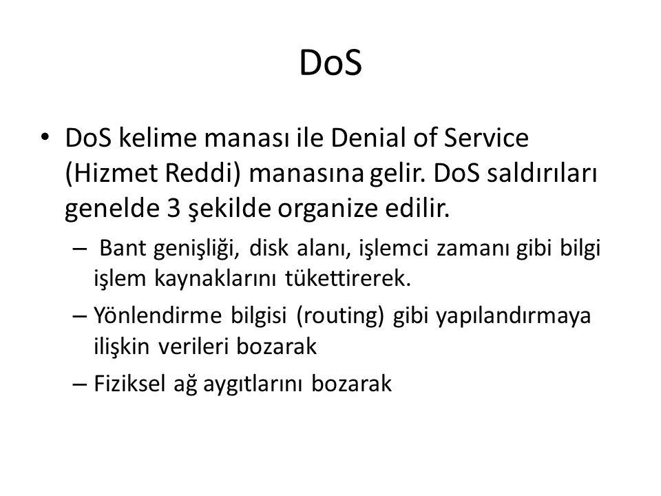 DoS DoS kelime manası ile Denial of Service (Hizmet Reddi) manasına gelir. DoS saldırıları genelde 3 şekilde organize edilir. – Bant genişliği, disk a
