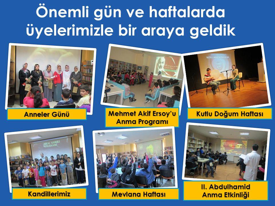 Önemli gün ve haftalarda üyelerimizle bir araya geldik Mehmet Akif Ersoy'u Anma Programı II. Abdulhamid Anma Etkinliği Kutlu Doğum Haftası Anneler Gün