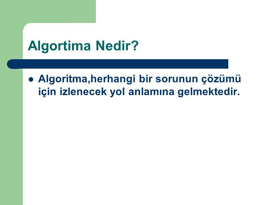 Algortima Nedir? Algoritma,herhangi bir sorunun çözümü için izlenecek yol anlamına gelmektedir.