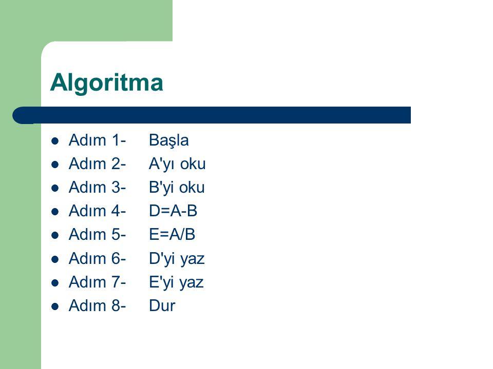 Algoritma Adım 1-Başla Adım 2-A'yı oku Adım 3-B'yi oku Adım 4-D=A-B Adım 5-E=A/B Adım 6-D'yi yaz Adım 7-E'yi yaz Adım 8-Dur