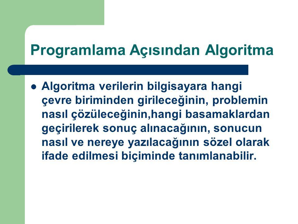 Programlama Açısından Algoritma Algoritma verilerin bilgisayara hangi çevre biriminden girileceğinin, problemin nasıl çözüleceğinin,hangi basamaklarda